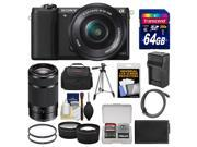 Sony Alpha A5100 Wi Fi Digital Camera 16 50mm Lens Black with 55 210mm Lens 64GB Card Case Battery Charger Tripod Tele Wide Lens Kit