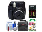 Fujifilm Instax Mini 8 Instant Film Camera (Black) with Instant Film + Case + (4) AA Batteries & Charger + Cleaning Kit