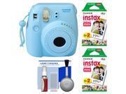 Fujifilm Instax Mini 8 Instant Film Camera (Blue) with (2) Instant Film + Cleaning Kit