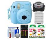 Fujifilm Instax Mini 8 Instant Film Camera (Blue) with (2) Instant Film + Case + Batteries & Charger + Cleaning Kit