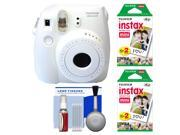 Fujifilm Instax Mini 8 Instant Film Camera (White) with (2) Instant Film + Cleaning Kit