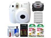 Fujifilm Instax Mini 8 Instant Film Camera (White) with (2) Instant Film + Case + Batteries & Charger + Cleaning Kit