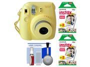 Fujifilm Instax Mini 8 Instant Film Camera (Yellow) with (2) Instant Film + Cleaning Kit