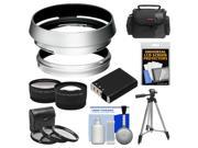 Bower AR-X100 Adapter Ring & Hood for Fuji X100/X100S Digital Camera (49mm) with Case + Battery + Tripod + Telephoto/Wide-Angle Lenses + 3 UV/CPL/ND8 Filters Ki