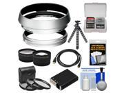 Bower AR-X100 Adapter Ring & Hood for Fuji X100/X100S Digital Camera (49mm) with Battery + Tripod + HDMI Cable + Telephoto/Wide-Angle Lenses + 3 UV/CPL/ND8 Filt