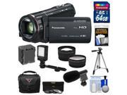 Panasonic HC-X920 3MOS Ultrafine Full HD Wi-Fi Video Camera Camcorder (Black) with 64GB Card + Battery + Case + Video Light + Microphone + Tripod + Tele/Wide Le