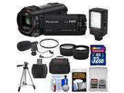 Panasonic HC-W850K Twin Recording HD Wi-Fi Video Camera Camcorder with 32GB Card + Case + LED Light + Mic + Tripod + Filters + Telephoto/Wide Lens Kit