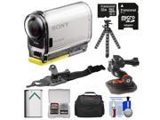 Sony Action Cam HDR-AS100V Wi-Fi GPS HD Video Camera Camcorder with 32GB Card + Battery + Curved Helmet & Arm Mounts + Case + Flex Tripod Kit
