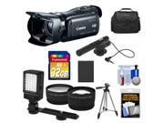 Canon Vixia HF G20 32GB Flash Memory 1080p HD Digital Video Camcorder with 32GB Card + Battery + Case + Microphone + LED Light + Tripod + Tele & Wide Lens Kit