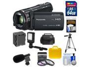 Panasonic HC-X920 3MOS Ultrafine Full HD Wi-Fi Video Camera Camcorder (Black) with 64GB Card + Battery + 2 Cases + LED Light + Mic + 3 Filters + Tripod + Accessory Kit