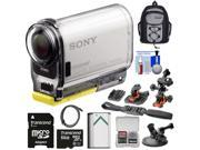 Sony Action Cam HDR-AS100V Wi-Fi GPS HD Video Camera Camcorder with 64GB Card + Flat Surface, Suction Cup & 2 Helmet Mounts + Battery + Backpack + Kit