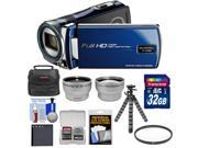 Bell & Howell DV12HDZ 1080p HD Video Camera Camcorder (Blue) with 32GB Card + Battery + Case + Flex Tripod + Filter + Tele/Wide Lens Kit