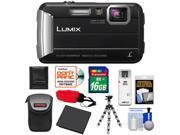 Panasonic Lumix DMC-TS25 Shock & Waterproof Digital Camera (Black) with 16GB Card + Battery + Case + Floating Strap + Flex Tripod + Accessory Kit
