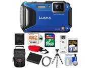 Panasonic Lumix DMC-TS5 Shock & Waterproof Wi-Fi GPS Digital Camera (Blue) with 16GB Card + Battery + Case + Floating Strap + Flex Tripod + Accessory Kit