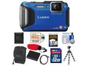 Panasonic Lumix DMC-TS5 Shock & Waterproof Wi-Fi GPS Digital Camera (Blue) with 32GB Card + Battery + Case + Floating Strap + Flex Tripod + Accessory Kit
