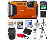 Panasonic Lumix DMC-TS5 Shock & Waterproof Wi-Fi GPS Digital Camera (Orange) with 16GB Card + Battery + Case + Floating Strap + Tripod + Accessory Kit