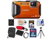 Panasonic Lumix DMC-TS5 Shock & Waterproof Wi-Fi GPS Digital Camera (Orange) with 32GB Card + Battery + Case + Floating Strap + Flex Tripod + Accessory Kit