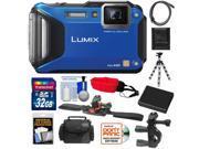 Panasonic Lumix DMC-TS5 Shock & Waterproof Wi-Fi GPS Digital Camera (Blue) with 32GB Card + Helmet & Handlebar Mounts + Battery + Case + Flex Tripod + Accessory