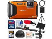 Panasonic Lumix DMC-TS5 Shock & Waterproof Wi-Fi GPS Digital Camera (Orange) with 32GB Card + Helmet & Handlebar Mounts + Battery + Case + Flex Tripod + Accesso