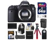 Canon EOS 6D Digital SLR Camera Body with 64GB + Backpack + Grip + Battery & Charger + Flex Tripod + Remote + Accessory Kit