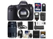 Canon EOS 6D Digital SLR Camera Body with EF 75-300mm III Lens + 64GB Card + Backpack + Flash + Grip + Battery/Charger Kit