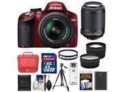 Nikon D3200 Digital SLR Camera & 18-55mm G VR DX AF-S Zoom Lens (Red) with 55-200mm VR Lens + 32GB Card + Tenba Case + Battery + Tripod + Tele/Wide Lens Kit