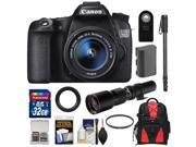 Canon EOS 70D Digital SLR Camera & EF-S 18-55mm IS STM Lens with 500mm f/8.0 Lens + 32GB Card + Battery + Backpack + Monopod + Accessory Kit