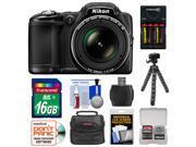 Nikon Coolpix L830 Digital Camera (Black) - with 16GB Card + Batteries & Charger + Case + Flex Tripod + Kit