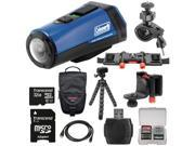 Coleman Aktivsport CX9WP GPS HD Video Action Camera Camcorder (Blue) with 32GB Card + Case + Flex Tripod + Kit