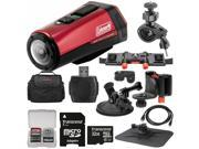 Coleman Aktivsport CX9WP GPS HD Video Action Camera Camcorder (Red) with 32GB Card + Car Suction Cup & Dashboard Mounts + Case + HDMI Cable + Kit