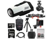 Coleman Aktivsport CX9WP GPS HD Video Action Camera Camcorder (White) with 32GB Card + Case + Flex Tripod + Kit