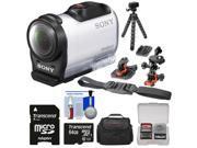 Sony Action Cam HDR-AZ1 Mini HD Video Camera Camcorder with 64GB Card + 2 Helmet & Flat Surface Mounts + Case + Flex Tripod + Kit