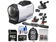 Sony Action Cam HDR-AZ1 Mini HD Video Camera Camcorder with 64GB Card + 2 Helmet, Flat Surface & Suction Cup Mounts + Backpack + Kit