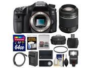 Sony Alpha A77 II Wi-Fi Digital SLR Camera Body with 55-200mm Lens + 64GB Card + Case + Flash + Battery & Charger + Kit 9SIA63G2AN1899