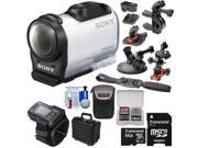 Sony Action Cam HDR-AZ1 Mini HD Video Camera Camcorder & Live View Remote with 64GB Card + 2 Helmet, Flat Surface, Suction Cup & Handlebar Mounts + 2 Cases + Kit