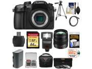 Panasonic Lumix DMC-GH4 4K Micro Four Thirds Digital Camera Body with 12-35mm f/2.8 Lens + 64GB Card + Battery + Case + Tripod + Flash + Filters Kit