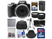 Kodak PixPro AZ525 Astro Zoom Wi-Fi Digital Camera with 32GB Card + Battery & Charger + Case + Tripod + Filters + Tele/Wide Lens Kit
