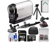 Sony Action Cam HDR-AS200V Wi-Fi HD Video Camera Camcorder with 32GB Card + Helmet, Arm & Suction Cup Mounts + Battery + Case + Flex Tripod + Kit 9SIA63G2NG2254