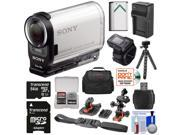 Sony Action Cam HDR-AS200VR Wi-Fi HD Video Camera Camcorder & Live View Remote with 64GB Card + 2 Helmet & Flat Surface Mounts + Battery + Charger + Case + Tripod + Kit