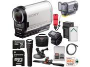 Sony Action Cam HDR-AS200VR Wi-Fi HD Video Camera Camcorder & Live View Remote with Marine Housing + 64GB Card + Helmet + Suction Cup Mounts + Battery + Case + Light Kit