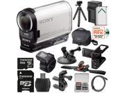 Sony Action Cam HDR-AS200VR Wi-Fi HD Video Camera Camcorder & Live View Remote with AKA-LU1 LCD Cradle + 64GB Card + Helmet, Handlebar & Suction Cup Mounts + Battery Kit
