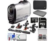 Sony Action Cam FDR-X1000V Wi-Fi 4K HD Video Camera Camcorder with 32GB Card + 2 Helmet, Flat & Handlebar Bike Mounts + Battery + Case + Kit