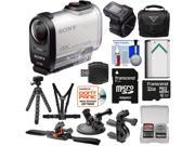 Sony Action Cam FDR-X1000VR Wi-Fi 4K HD Video Camera Camcorder & Live View Remote with 32GB Card + Bike Handlebar, Helmet, Suction Cup & Chest Mounts + Battery + Case + Kit