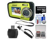 Coleman Duo 2V7WP Dual Screen Shock & Waterproof Digital Camera (Green) with 16GB Card + Selfie Stick Monopod + Sling Strap + Kit