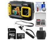Coleman Duo 2V9WP Dual Screen Shock & Waterproof Digital Camera (Yellow) with 32GB Card + Selfie Stick Monopod + Sling Strap + Kit
