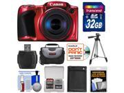Canon PowerShot SX410 IS Digital Camera (Red) with 32GB Card + Battery + Case + Tripod + Kit