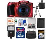 Canon PowerShot SX410 IS Digital Camera (Red) with 32GB Card + Battery + Case + Tripod + Flash + Kit
