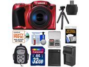 Canon PowerShot SX410 IS Digital Camera (Red) with 32GB Card + Battery & Charger + Backpack + Flex Tripod + Kit