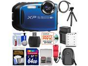 Fujifilm FinePix XP80 Shock & Waterproof Wi-Fi Digital Camera (Blue) with 64GB Card + Battery & Charger + Case + Flex Tripod + Strap + Kit