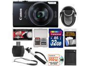 Canon PowerShot Elph 350 HS Wi-Fi Digital Camera (Black) with 32GB Card + Battery + Case + Selfie Monopod + Sling Strap + Kit